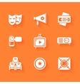 Set of white cinema movie icons vector image