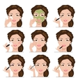 set of women with make-up vector image vector image