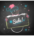 snowman with sale signboard vector image vector image