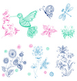 Spring Summer Doodles - bird butterflies flowers vector image