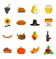 Thanksgiving icons set flat style vector image vector image