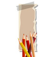 thin paper with many color pencils vector image vector image