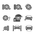 tire wheel service black icons set vector image vector image