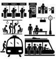 train commuter station subway man passengers vector image
