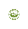 vintage river lake pine forest mountain logo vector image vector image