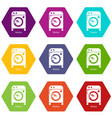 washer icons set 9 vector image