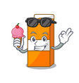 with ice cream package juice character cartoon vector image