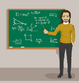 young male math teacher next to blackboard vector image vector image