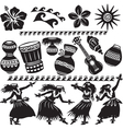 Hawaiian Set with dancers and musical instruments vector image