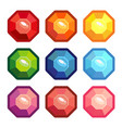 a set of gemstones in the shape of an octagon vector image