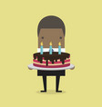 african businessman with a big cake vector image