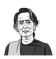 aung san suu kyi portrait vector image vector image