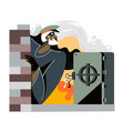 bank robbery talented robber breaking strongbox vector image