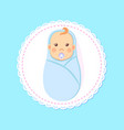 bashower greeting card swaddled boy with nipple vector image vector image