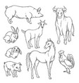 black and white sketch set of isolated farm vector image vector image
