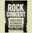 black rock concert retro poster design vector image