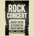 black rock concert retro poster design vector image vector image