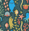 Bright seamless pattern with colorful fishes sea vector image