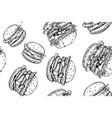 burgers seamless pattern hand drawn hamburger and vector image