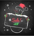 Christmas Snowman with sale signboard vector image