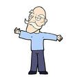 comic cartoon old man spreading arms wide vector image vector image