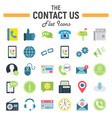 contact us flat icon set web button signs vector image vector image