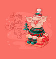 cute cheerful pig sits on a gift box vector image vector image