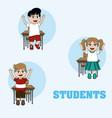 cute students cartoons vector image vector image