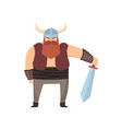 cute viking warrior with horn helmet and steel vector image