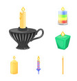 design of light and wax icon set of light vector image vector image