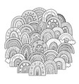 doodle rainbows circle shape pattern for coloring vector image