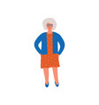 elderly grey woman senior lady standing with vector image