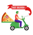 fast delivery man and pizza on vector image vector image