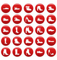 footwear shoes icon set vetor red vector image