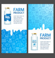 fresh milk banner vertical set with realistic vector image vector image
