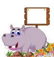 funny hippo cartoon with blank board vector image