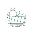 green solar energy panel icon in line art vector image