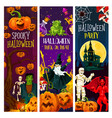 halloween party banner with trick or treat pumpkin vector image vector image