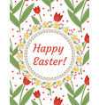 happy easter greeting card flyer poster with red vector image vector image