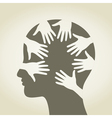 Head of hands vector image vector image