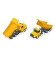 isometric dumper truck excavator dump truck vector image vector image