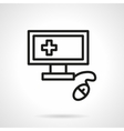 Medical computer black line icon vector image vector image