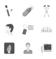 Medicine and hospital set icons in monochrome vector image vector image