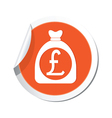 moneybag pound icon orange label vector image vector image