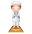 muslim kid praying isolated on white background vector image vector image