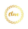 olive label golden ornamental border vector image vector image