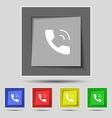 Phone icon sign on original five colored buttons vector image vector image