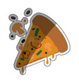 pizza slice mushrooms cheese vector image
