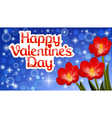 postcard with red flowers on Valentines day vector image vector image