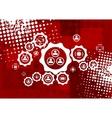 Red grunge hi-tech background vector image vector image